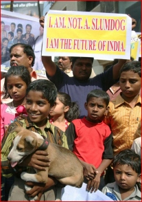 "Mumbai slum residents protesting against ""Slumdog Millionaire"""